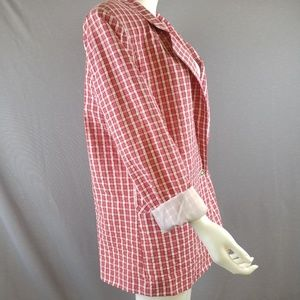 Vtg  80s Red White Plaid Seersucker Blazer